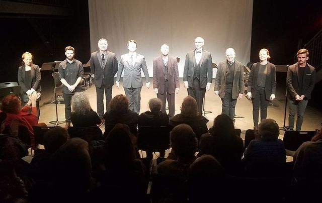 On stage at The Wars of Dagger John: Connie Wookey , Chris Russell, Aidan Redmond, Colin Ryan, Colin Lane, Richard Waddingham, Greg Mullavey, Orlagh Cassidy, Connor Delves.