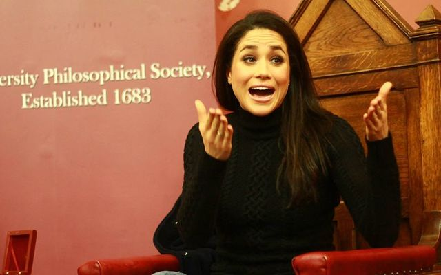 Suits star Meghan Markle, soon to marry Prince Harry, speaking at The Phil, in Trinity, Dublin, in 2013.