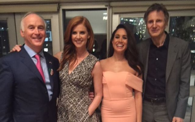 New York hotelier John Fitzpatrick, Sarah Rafferty, Meghan Markle and Liam Neeson, at the Irish Hillary Clinton fundraiser, in New York.