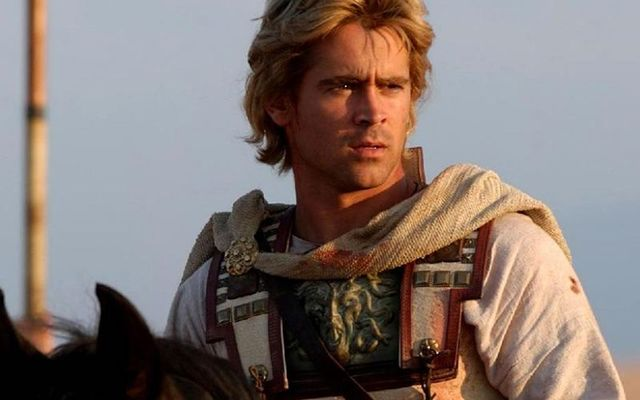 """Colin Farrell, with an amazing hair cut and seriously Dub accent, in Oliver Stone\'s \""""Alexander\""""."""