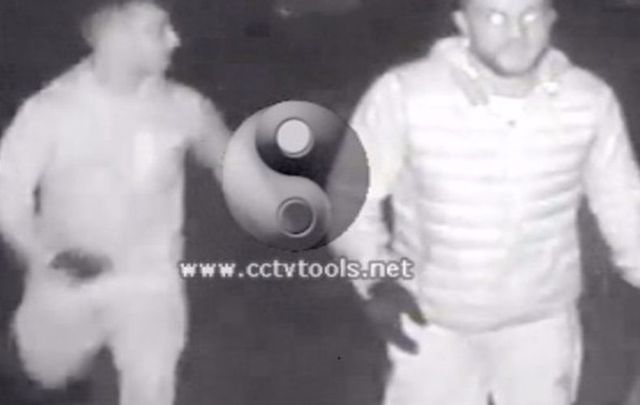 The whiskey thieves in action, captured on CCTV