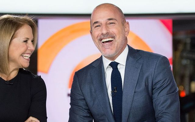 Matt Lauer and Katie Couric on set at the Today Show.