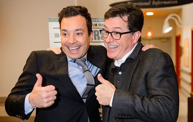 Jimmy Fallon and Stephen Colbert during a joint appearance at the Montclair Film Festival in 2013.