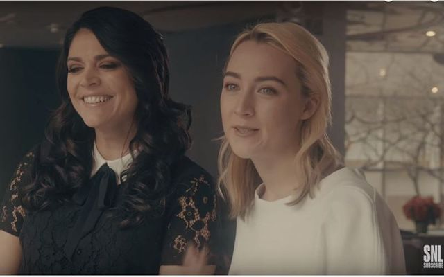 Cecily Strong and Saoirse Ronan in the SNL promo