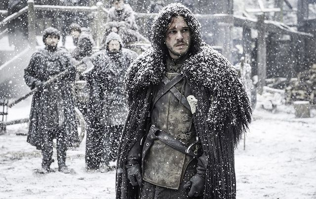 A scene from the HBO series \'Game of Thrones\' featuring Jon Snow portrayed by actor Kit Harington.