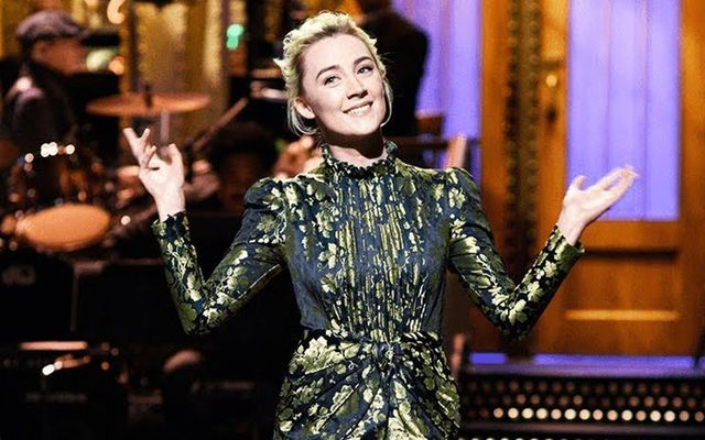Saoirse Ronan, making her opening monologue on NBC\'s Saturlday Night Live.