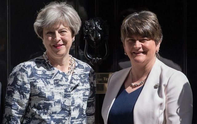 British PM Theresa May and DUP leader Arlene Foster, outside 10 Downing St, earlier this year.