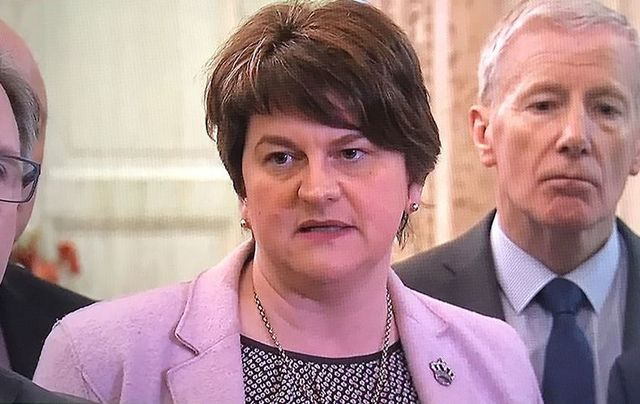 Democratic Unionists Party leader Arlene Foster speaking outside Stormont on Dec 4.