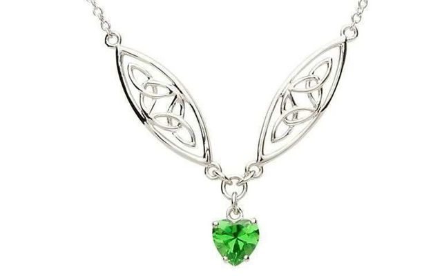 The Celtic Silver Stone Set Trinity Necklace from Shanore, on the IrishCentral Shop.