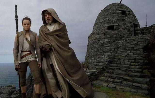 Daisy Ridley and Mark Hamill in The Last Jedi