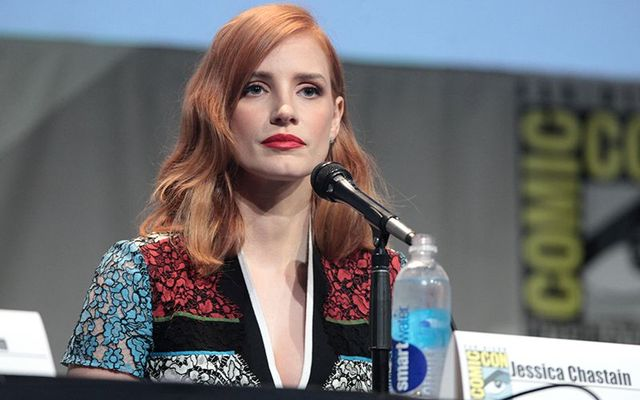 Irish American Jessica Chastain photographed at Comic Con.