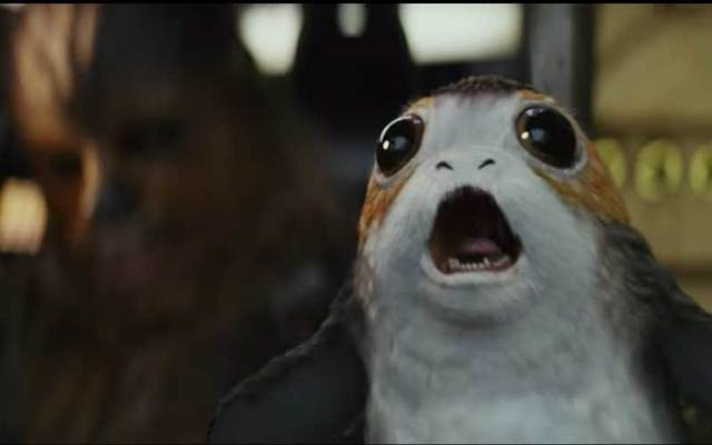 Screenshot of a porg from \'The Last Jedi\' trailer.