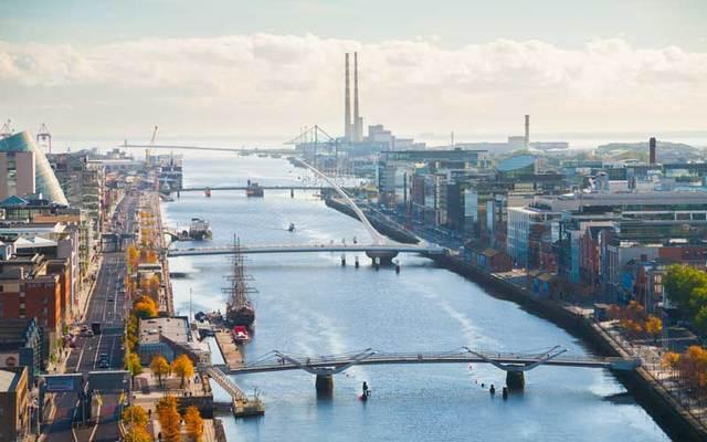Dublin city skyline.