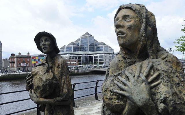 Rowan Gillespie\'s famine memorial along the quays in Dublin city.