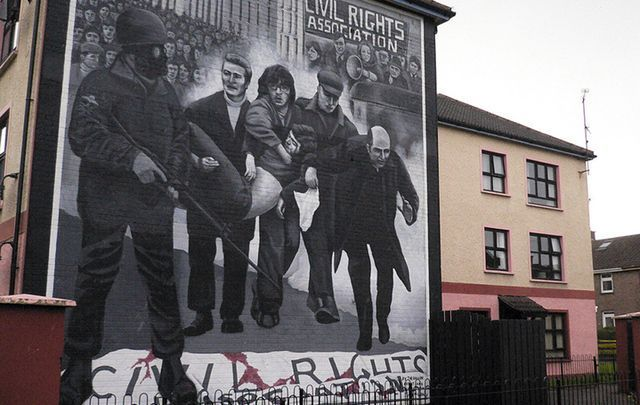 Derry city mural depicts carnage on Bloody Sunday January 30, 1972