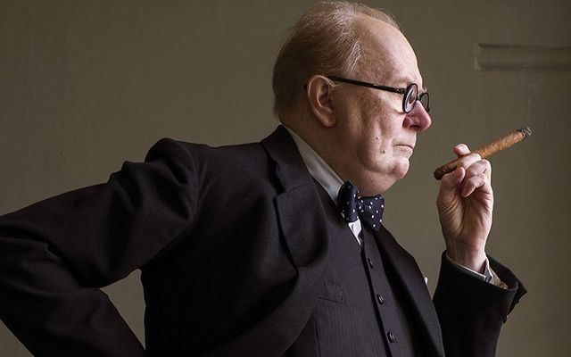 "Gary Oldman playing Sir Winston Churchill in the award-winning movie \""The Darkest Hour\""."