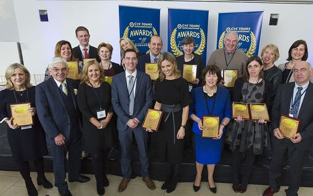 A group shot of some of the big winners at the CIE Tours International Awards of Excellence.