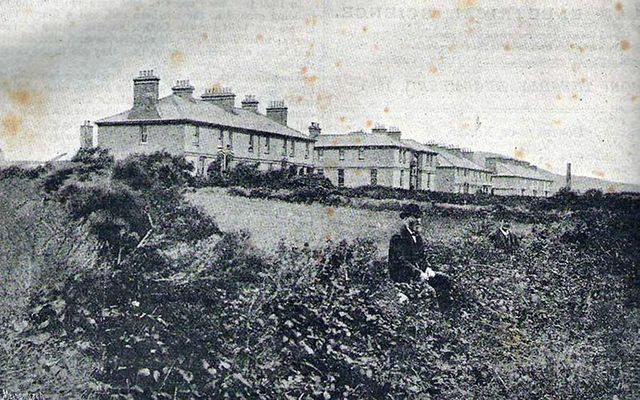 An old photo of the Cable House, on Valentia Island, off County Kerry.