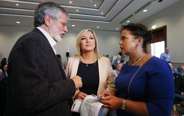 Sinn Fein\'s Gerry Adams, Michelle O\'Neill and Mary Lou McDonald.