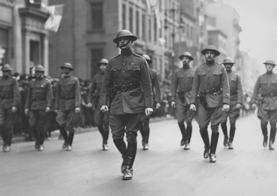 Colonel Bill Donovan marches in the New York St. Patrick\'s Day Parade, at the head of the 69th Brigade, in 1918.
