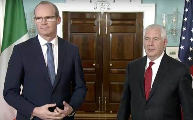 Irish Foreign Affairs Minister Simon Coveney and Secretary of State Rex Tillerson.