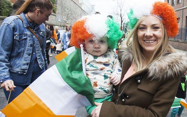 Members of the Irish public celebrating St. Patrick\'s Day.