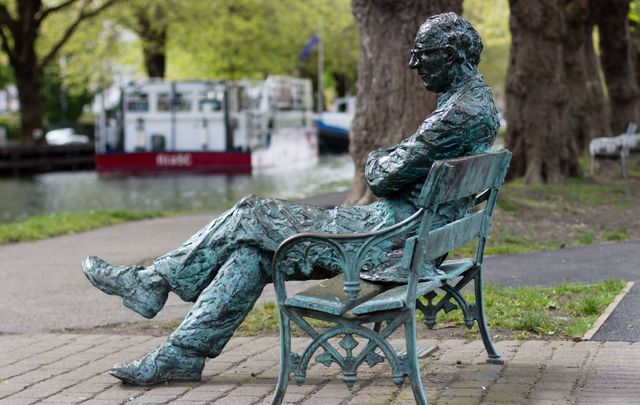A statue of Patrick Kavanagh on the banks of the Grand Canal, in Dublin.