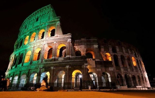 The Colosseum in Italy lit up green on St. Patrick\'s Day