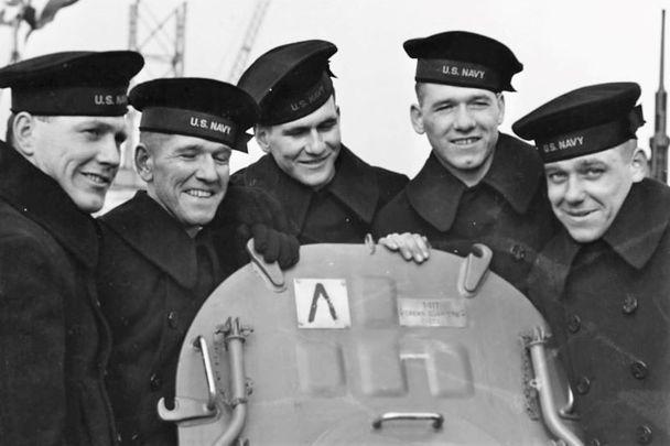 The Sullivan brothers on board USS Juneau: Joe, Frank, Al, Matt, and George.