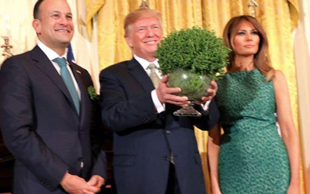 Taoiseach Leo Varadkar, President Trump and First Lady Melania in the Oval Office last Thursday.