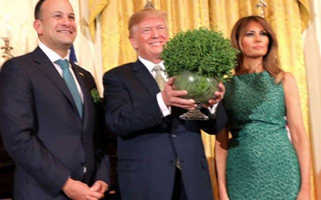 Irish leader Leo Varadkar presents a bowl of shamrock to President Donald Trump and Melania.