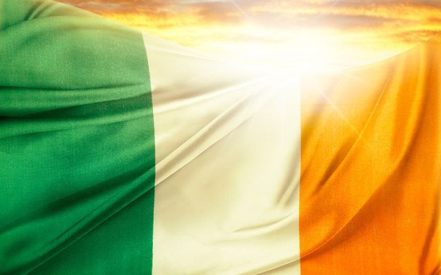 Irish flag waving in the sunshine