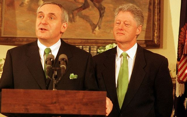 Former Taoiseach (Prime Minister) Bertie Ahern and former US president Bill Clinton.