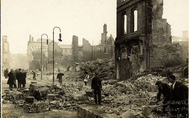 Destruction caused by British bombing in Cork during the Irish War for Independence.