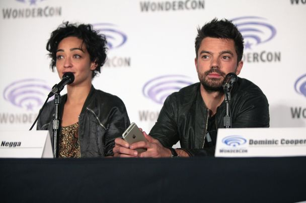 Ruth Negga and Dominic Cooper, who were costars in Preacher, speaking at Comic Con.