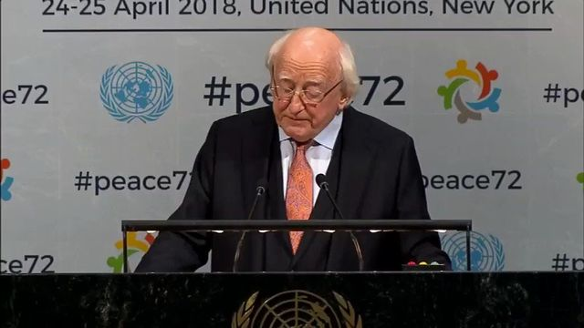 Ireland\'s President Michael D Higgins speaking at the United Nations, in New York.