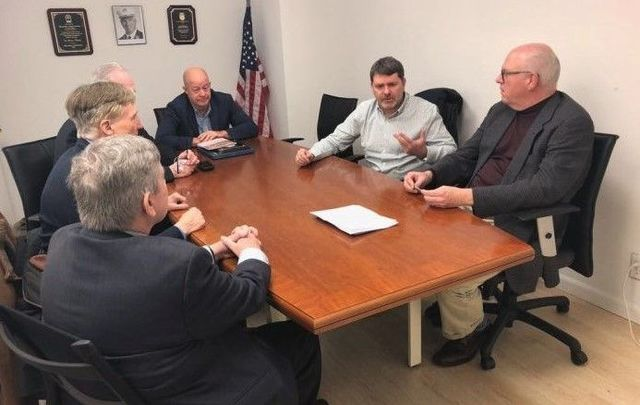 Mark Thompson speaks to AOH representatives and Congressman Joe Crowley during the Emergency Tour of the East Coast early this year, lobbying for US intervention with the British Government on behalf of victims of the conflict.