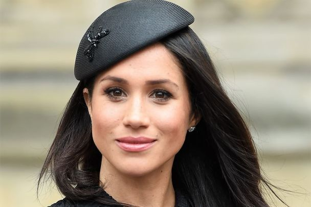 Meghan Markle attends an Anzac Day service at Westminster Abbey on April 25, 2018 in London, England while wearing a Philip Treacy hat.