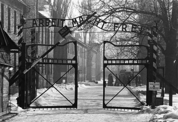"""The gates of Auschwitz, a concentration camp operated by Nazi Germany in occupied Poland during World War II """"The story of the only Irish citizen to die in Auschwitz."""""""