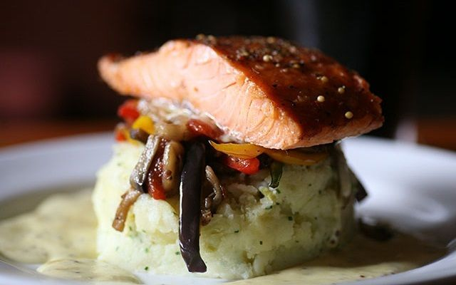 Burren Hot Smoked Salmon on a bed of colcannon with stir fried vegetables