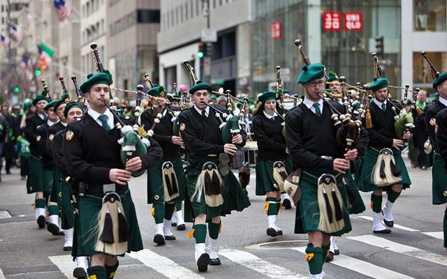 Pipers on Fifth Avenue during the St. Patrick\'s Day Parade in New York.