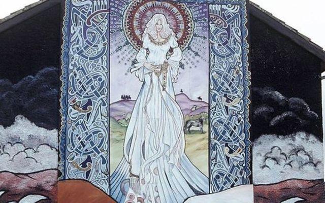 A mural depicting Queen Medb in Belfast.