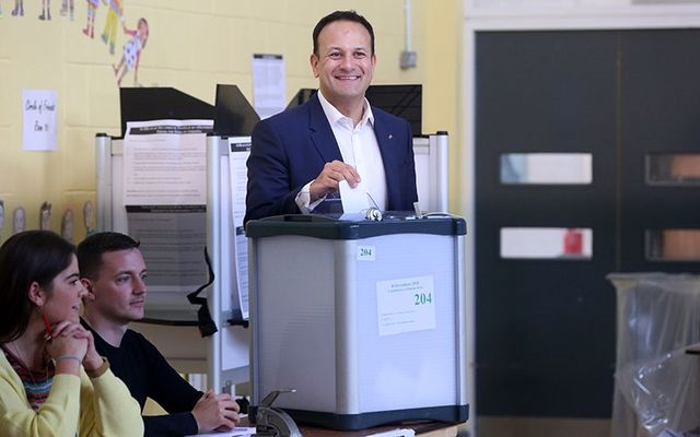 Ireland\'s Taoiseach (Prime Minister) Leo Varadkar voting Yes in the Eighth Amendment referendum.