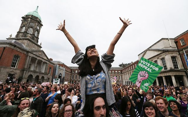 Crowds celebrate Ireland\'s Yes vote in the 8th Amendment Referendum on Saturday May 25 at Dublin Castle.