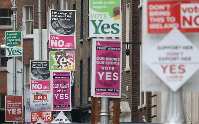 Posters on the streets of Dublin during the campaign for the Eighth Amendment referendum, to change abortion law.