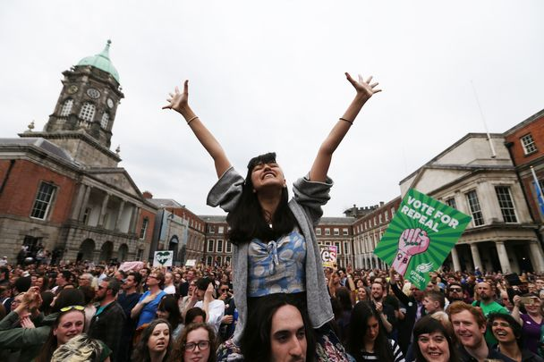 Woman among thousands celebrating the birth of a new Ireland on May 26. 66.4% of the Irish electorate voted yes to a change in Ireland\'s abortion laws.
