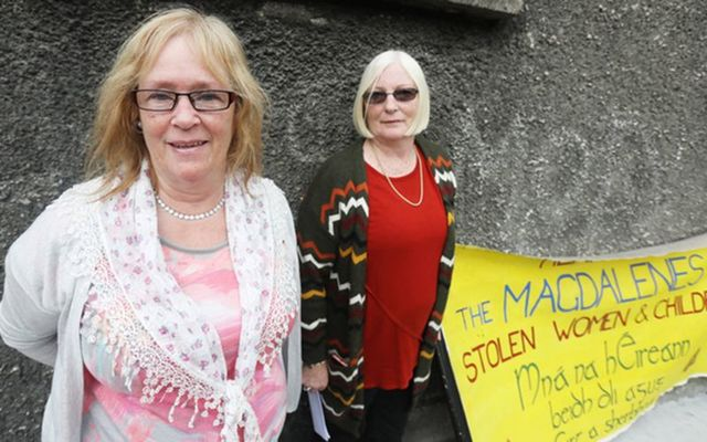 Angela Merrigan - her Mother spent 14 years in Gloucester street Magdalene laundry - with Lindsay Rehn, who spend some time in Grianan Magdalene laundry pictured outside Gloucester street Magdalene laundry.