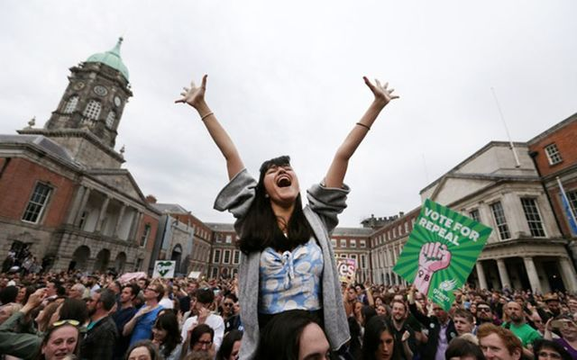 Amelia Goonerage from Dublin joins Yes campaigners celebrating their win in Dublin Castle after the yes vote won the Irish referendum to repeal the 8th Amendment.
