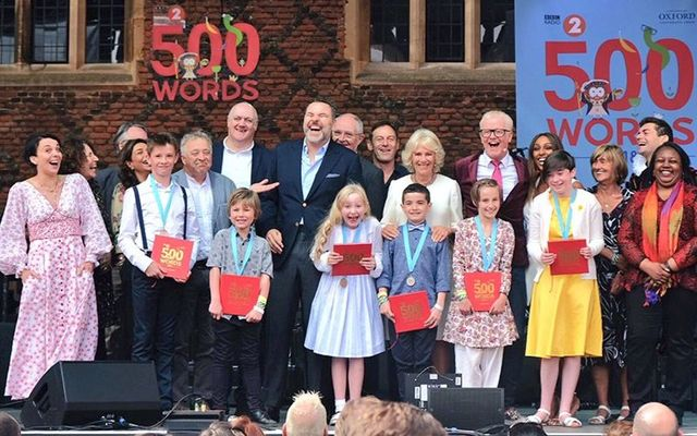 Judges and competitors at the writing competition 500 words held at Hampton Court Palace.