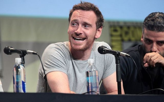 Michael Fassbender on a panel at Comic Con.